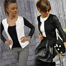 Ladies Quilted New Jacket with LEATHER look sleeves Zip Womens Blazer  S- XXXXXL