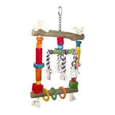 Parrot Toy Perch Swing Pet Bird Toy Natural Wood Swing with Rope