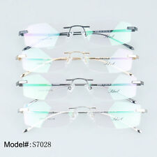S7028 new style thin temple alloy optical frames high quality rimless eyeglasses