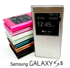 S View Metallic Leather Battery Flip Cover Case Samsung Galaxy S5 4G LTE G900