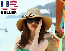 Fashion Womens Girl Bow Wide Large Brim Straw Derby Cap Summer Beach Sun Hat