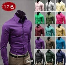 Fashion Mens Luxury Stylish Casual Dress Slim Fit T-Shirts Casual Long Sleeve 17