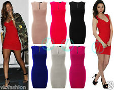 Womens Ladies Rihanna Bandage Mini Bodycon Dress Short Stretch Ribbed Panel