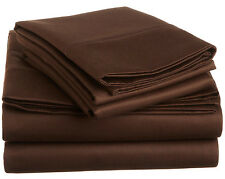 Chocolate 1000TC 1PC Solid Split Corner Tailored Bed Skirt 100%Cotton All Size