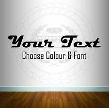 Custom Personalised Text Name Sticker Wall Car Art Decal 12 Colours 40 Fonts