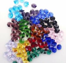 50x 14mm CRYSTAL OCTAGON BEADS MIXED 1H craft suncatcher supplies fengshui prism