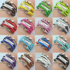 Vintage One Direction Infinity Love Bracelet Handmade Multilayer Cuff Bangle B62
