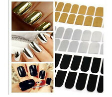 16pcs Silver or Gold, Black Nail Art Patch Foil Tip Wrap Minx like USA Seller
