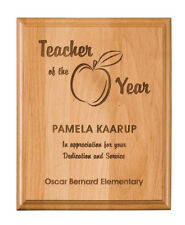 Premium Laser Engraved Natural Alder or Bamboo Award Plaque  FREE ENGRAVING