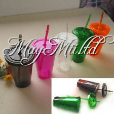 Smooth Iced Coffee Juice Plastic Drinks Cup With Straw Party Liquid Beaker Lid M