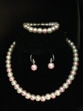 Flower Girl or Lady TwoTone Glass Pearl Necklace Set