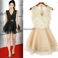 CaF8 Sexy Women Sleeveless Lace Cocktail Evening Clubwear Party Ball Gown Dress