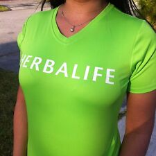 Herbalife Cool Dry Fit. Neon Lime T Shirt for Women, White Letters