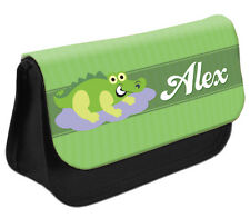PERSONALISED Crocodile Pencil Case Make up Bag - Kids School Great Gift Idea DS