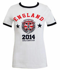 NEW WOMENS LADIES WORLD CUP 2014 PRINTED TOP ENGLAND FOOTBALL SOCCER T SHIRT
