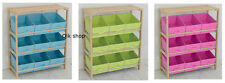 Wood And Canvas storage Unit Rack With 9 Tubs Tray, Toy Box, Toy Tidy Chest