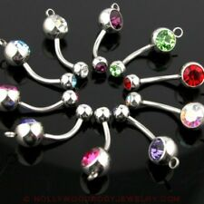 Double Gem Navel Belly Ring w / Steel Hoop for add on Charm