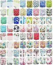 T-Diapers Printed Cloth Diapers Reusable Nappy Covers Liner Insert  100+colors