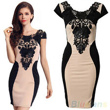 Elegant Womens Lace Clothes Slim Bodycon Party Cocktail Skirt Evening Dress BHCU