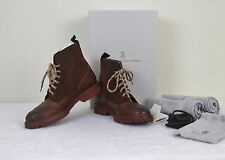 NIB Brunello Cucinelli Suede Leather Wingtip Boots Beautiful Shoes! $1085