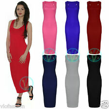 Ladies Midi Dress Racer Back Bodycon Pencil Stretch Slim Summer Size 8 10 12 14