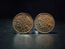 PAIR 6d SIXPENCE FATHERS DAY GIFT  COIN CUFFLINKS CHOOSE YOUR YEAR 1947 – 1967