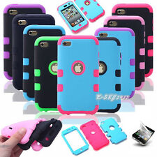 Triple Hybrid Impact Hard Soft Case Cover for iPod Touch 4 4TH GEN + 2 Film