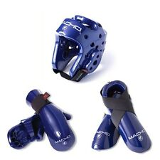 New Macho Dyna Taekwondo,Karate MMA Headgear, Hand, Foot Sparring Gear set-BLUE
