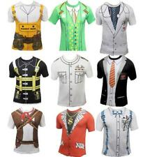 Adult Men Printed T Shirts Stag Do Fancy Dress Doctor Cowboy Geek Nerd Costume