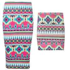 New Womens Ladies Aztec Stripe Print Midi Pencil Wiggle Mini Jersey Skirt 8-14