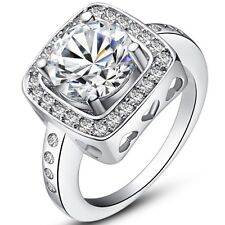 Silver Plated Sparkly 2.5 Carat Cubic Zirconia Ring Women's Wedding Band