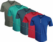 New Mens Quality plain V Y Neck 4 Button Up Short Sleeve T - Shirt M - XL