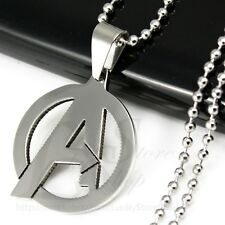 Stainless Steel Avengers Marvel Heroes A Letter Logo Round Pendant Necklace L37