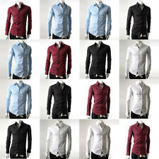Mode Herrenhemd Slim Fit Stehkragen Freizeithemden Top Polo Hemd Langarm Shirts
