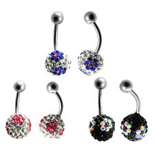 Stainless Steel Belly Ring with Ferido Ball Assorted Colors to Choose From!