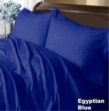 Bed Skirt 1-PC 1000TC (Full/Queen/King)100%Cotton Stripe Egyptian Blue All Drop