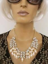 GOLD TONE METAL CHAIN CREAM FAUX PEARL CLEAR CRYSTAL LINK STATEMENT NECKLACE UK
