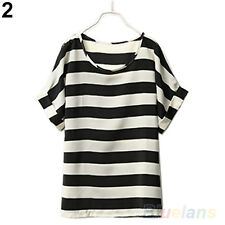 Chic Batwing Sleeve Blouse Chiffon Striped Loose Tops T-shirt for Women B68U