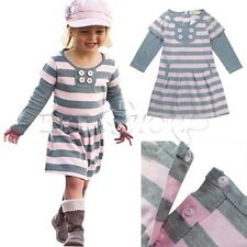 Girls Kid Long Sleeve Striped Dress Casual Autumn Clothes Costume Lovely SZ 2-6
