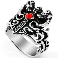 Stainless Steel Dragon Pattern w/ Red CZ Ring Men's Boy's Cool Band Size 8-13