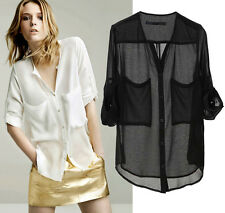 Summer women big pocket Solid black & white casual Single breasted chiffon shirt