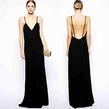 Womens Sexy Backless Pure Black Full Length Party Dress Suspender Long Porm Gown