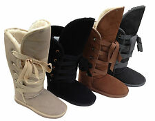 "Roxy Tall Lace Up Ugg Boots100% Australian Sheepskin 16"" High Ladies Women"