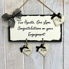 Personalised Engagement Gift Plaque Sign Present Two Hearts One Love