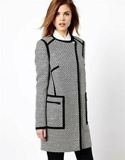 New KAREN MILLEN Tweed Pod Black White Ladies UK Size 10 Long Jacket Coat