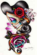 Sad Girl by Dave Sanchez Canvas Giclee Mexican Day of the Dead Sugar Skull Rose