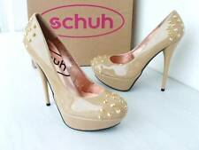 SCHUH SPIKE NUDE BEIGE PATENT MAN MADE STILETTO HEEL PLATFORM COURT SHOE £60