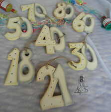 EAST OF INDIA SHABBY CHIC WOODEN BIRTHDAY NUMBERS 21 KEY 18 21 30 40 50 60 70 80