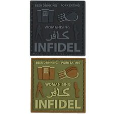 INFIDEL PVC VELCRO PATCH BEER DRINKING MILITARY BRITISH ARMY TRF MORALE BADGE