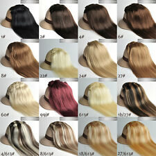 """Full Head 16""""-30"""" 100% Clips in Real Human Hair Extensions Any Weight 15 Colors"""
